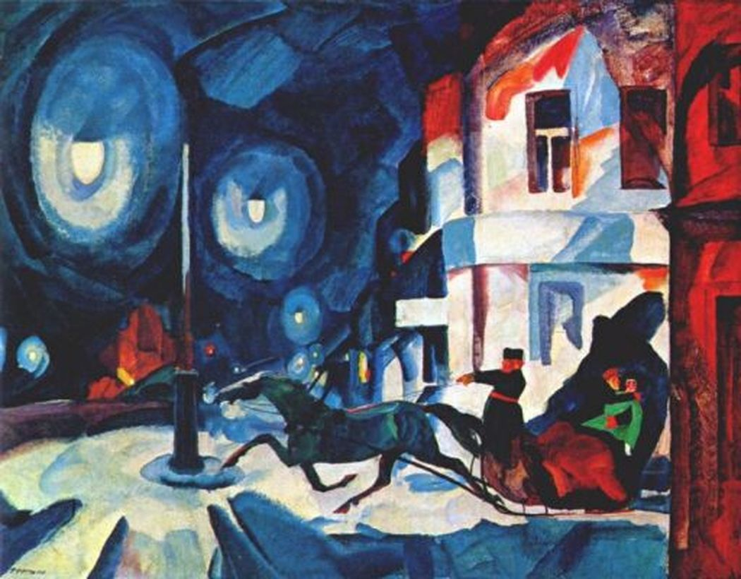 Rudolph Rudolphovich Frenz, The Nevsky Prospect at Night, 1923